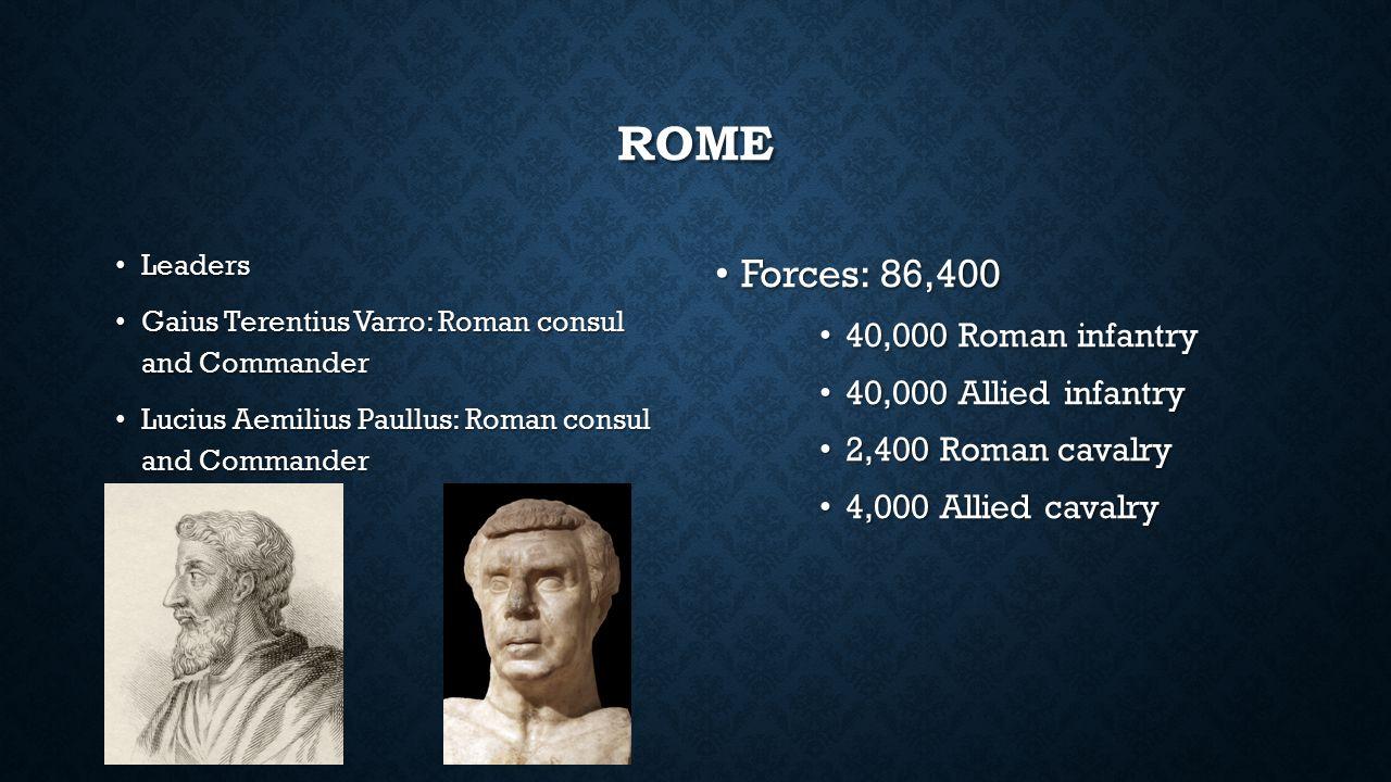 ROME Leaders Leaders Gaius Terentius Varro: Roman consul and Commander Gaius Terentius Varro: Roman consul and Commander Lucius Aemilius Paullus: Roma
