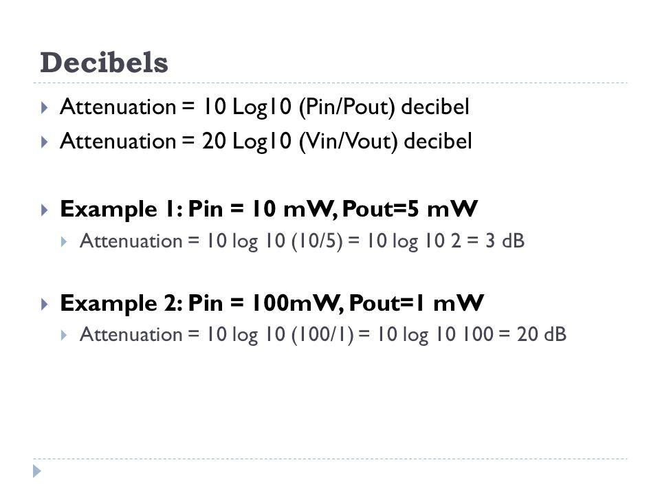 Decibels  Attenuation = 10 Log10 (Pin/Pout) decibel  Attenuation = 20 Log10 (Vin/Vout) decibel  Example 1: Pin = 10 mW, Pout=5 mW  Attenuation = 1