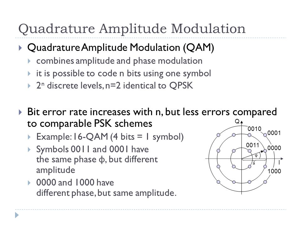 Quadrature Amplitude Modulation  Quadrature Amplitude Modulation (QAM)  combines amplitude and phase modulation  it is possible to code n bits using one symbol  2 n discrete levels, n=2 identical to QPSK  Bit error rate increases with n, but less errors compared to comparable PSK schemes  Example: 16-QAM (4 bits = 1 symbol)  Symbols 0011 and 0001 have the same phase φ, but different amplitude  0000 and 1000 have different phase, but same amplitude.