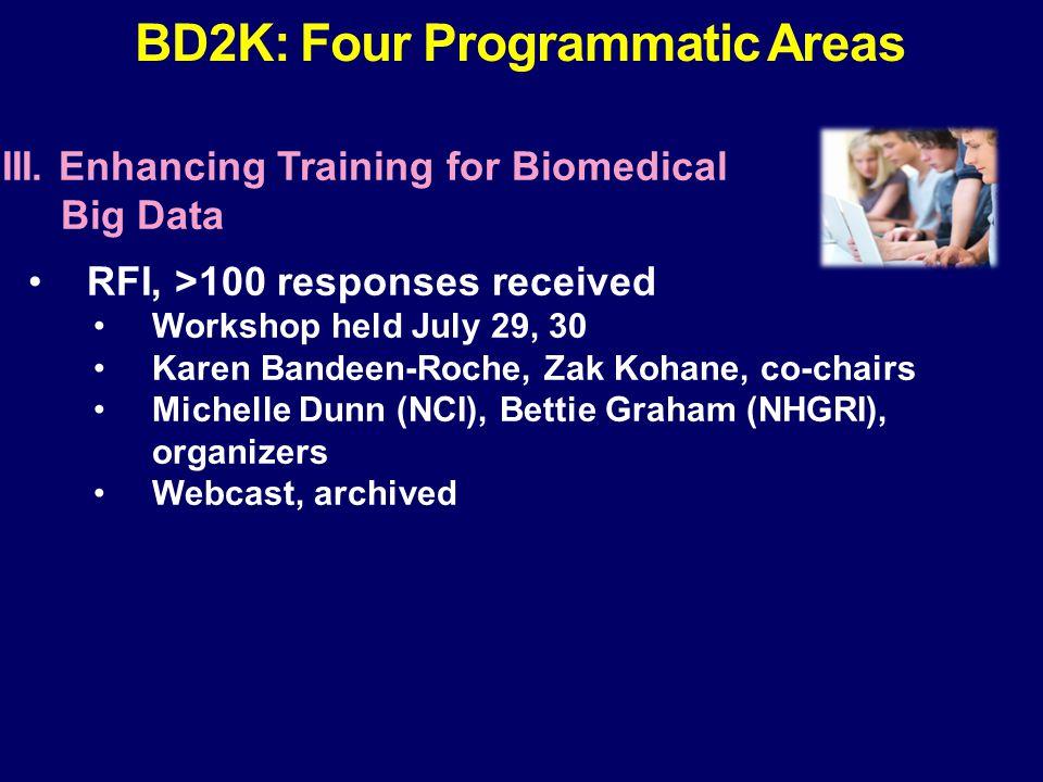 III. Enhancing Training for Biomedical Big Data RFI, >100 responses received Workshop held July 29, 30 Karen Bandeen-Roche, Zak Kohane, co-chairs Mich