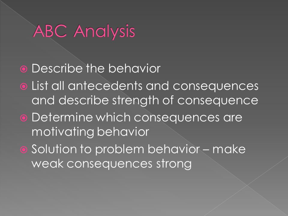  Describe the behavior  List all antecedents and consequences and describe strength of consequence  Determine which consequences are motivating behavior  Solution to problem behavior – make weak consequences strong