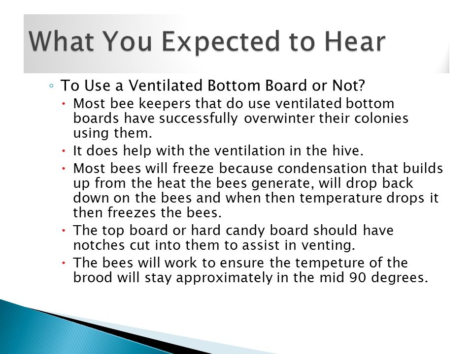 ◦ To Use a Ventilated Bottom Board or Not.