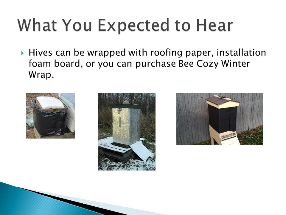  Hives can be wrapped with roofing paper, installation foam board, or you can purchase Bee Cozy Winter Wrap.