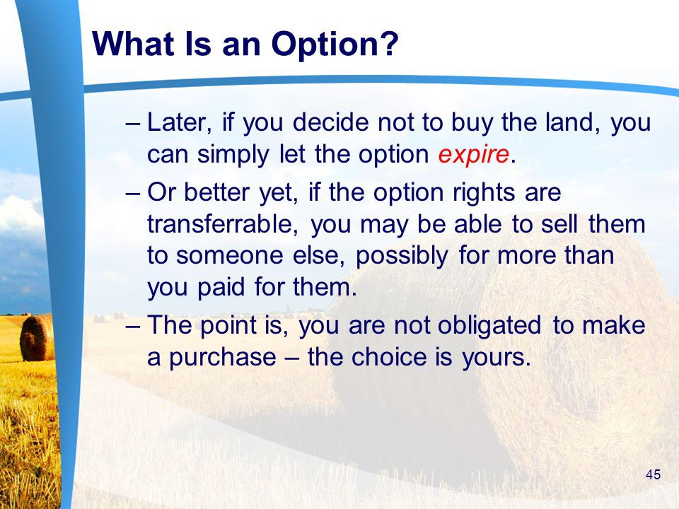 What Is an Option. –Later, if you decide not to buy the land, you can simply let the option expire.
