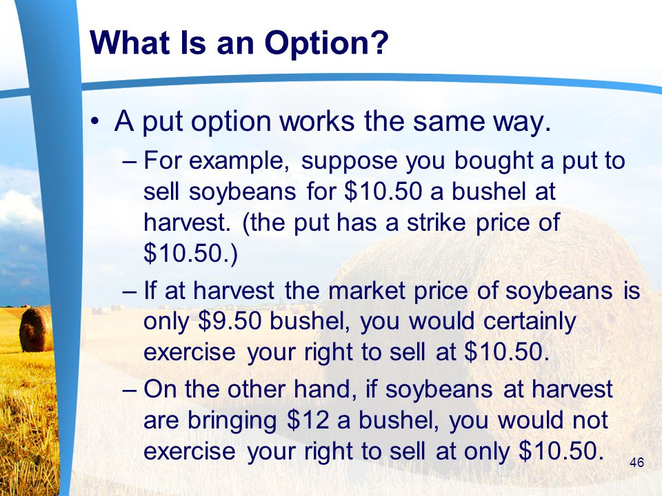 What Is an Option. A put option works the same way.