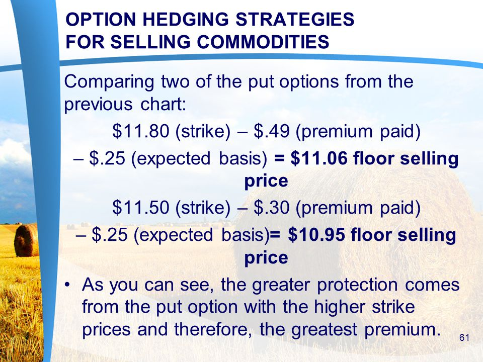 OPTION HEDGING STRATEGIES FOR SELLING COMMODITIES Comparing two of the put options from the previous chart: $11.80 (strike) – $.49 (premium paid) – $.25 (expected basis) = $11.06 floor selling price $11.50 (strike) – $.30 (premium paid) – $.25 (expected basis)= $10.95 floor selling price As you can see, the greater protection comes from the put option with the higher strike prices and therefore, the greatest premium.
