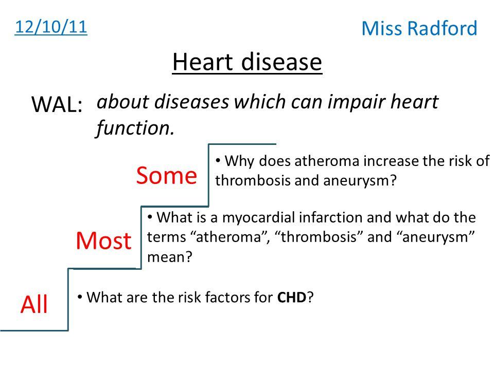 12/10/11 Miss Radford Heart disease about diseases which can impair heart function.