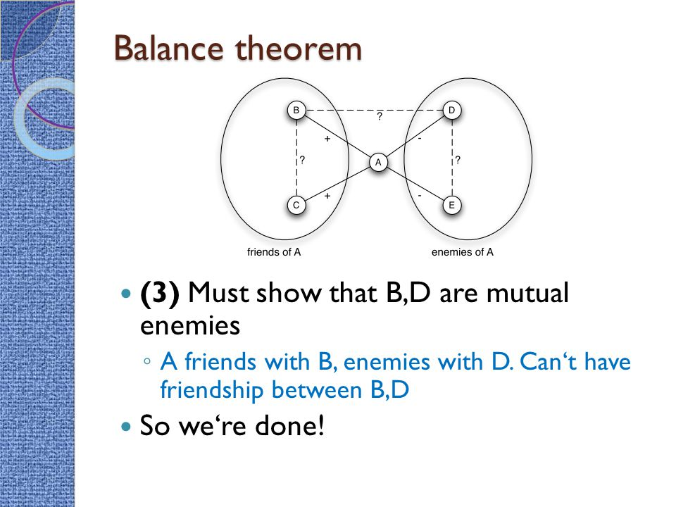 Balance theorem (3) Must show that B,D are mutual enemies ◦ A friends with B, enemies with D.