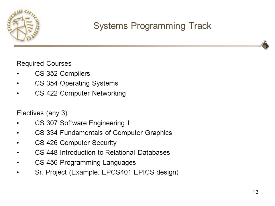 13 Systems Programming Track Required Courses CS 352 Compilers CS 354 Operating Systems CS 422 Computer Networking Electives (any 3) CS 307 Software Engineering I CS 334 Fundamentals of Computer Graphics CS 426 Computer Security CS 448 Introduction to Relational Databases CS 456 Programming Languages Sr.