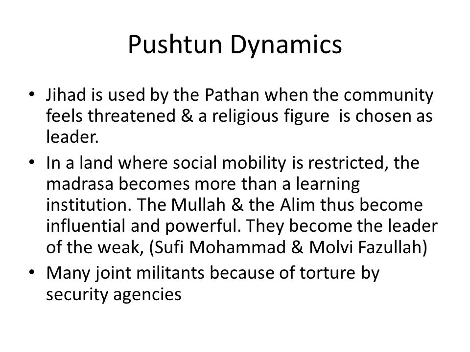 Pushtun Dynamics Jihad is used by the Pathan when the community feels threatened & a religious figure is chosen as leader. In a land where social mobi