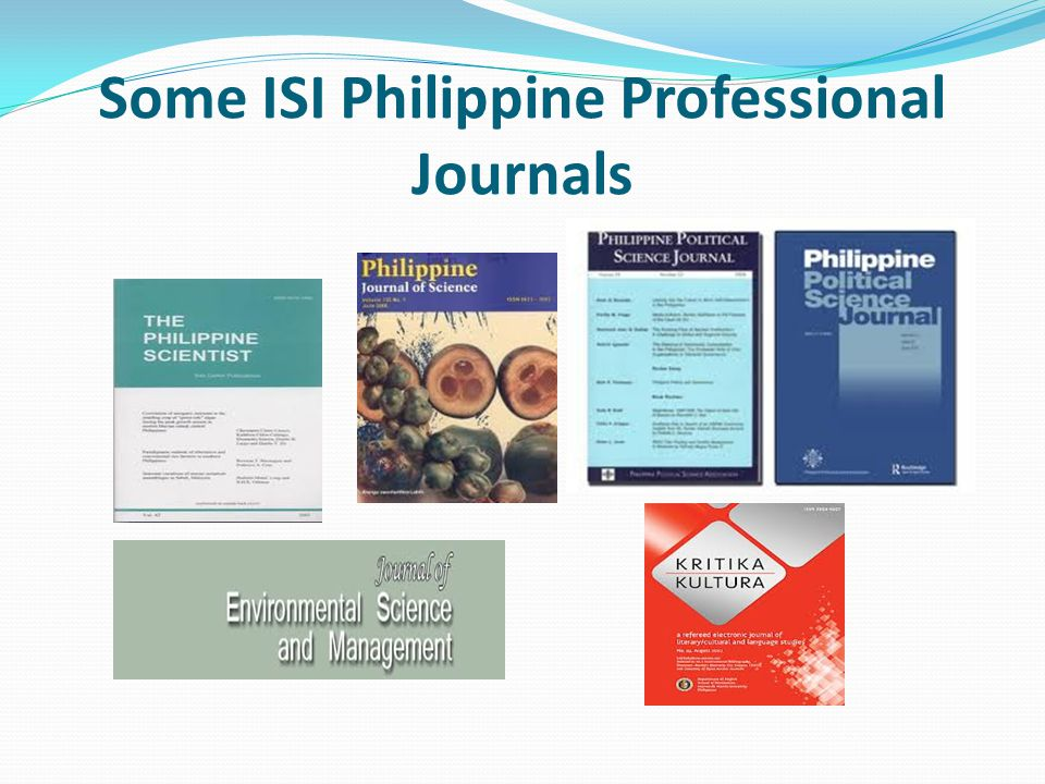 Some ISI Philippine Professional Journals