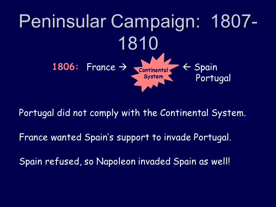 Peninsular Campaign: 1807- 1810 Portugal did not comply with the Continental System.