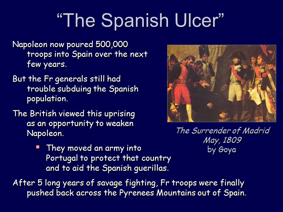 The Spanish Ulcer Napoleon now poured 500,000 troops into Spain over the next few years.