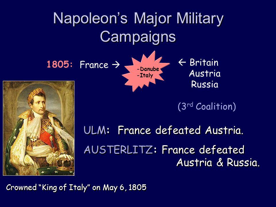 Napoleon's Major Military Campaigns  Britain Austria Russia (3 rd Coalition) France  1805: -Danube -Italy ULM: France defeated Austria. AUSTERLITZ: