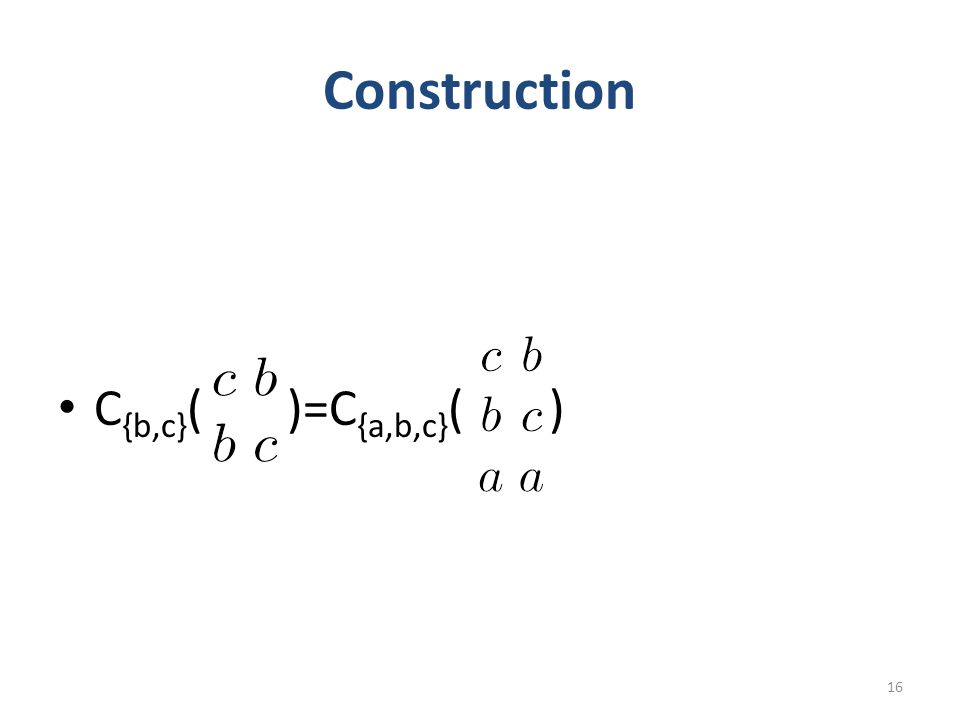 Construction C {b,c} ( )=C {a,b,c} ( ) 16