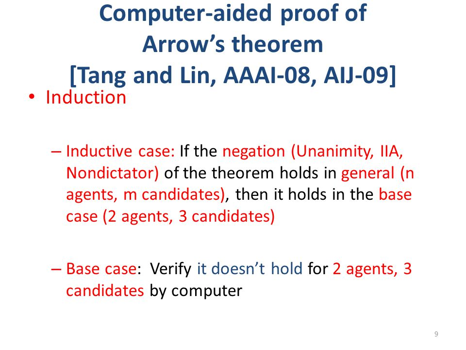 Computer-aided proof of Arrow's theorem [Tang and Lin, AAAI-08, AIJ-09] Induction – Inductive case: If the negation (Unanimity, IIA, Nondictator) of t