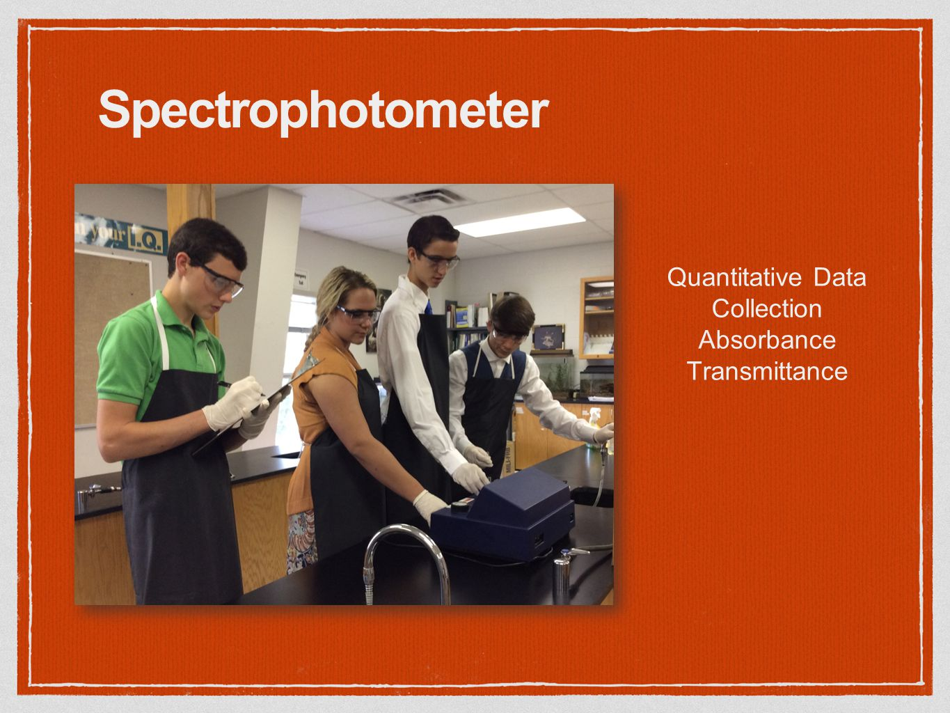 Spectrophotometer Quantitative Data Collection Absorbance Transmittance