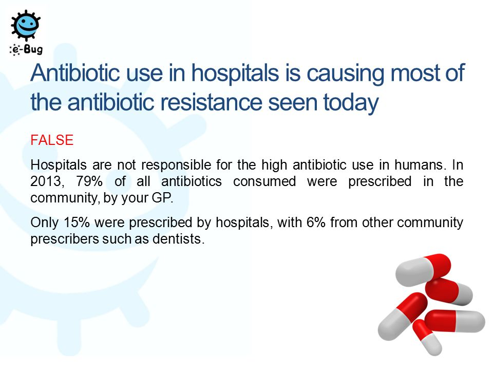 Antibiotic use in hospitals is causing most of the antibiotic resistance seen today FALSE Hospitals are not responsible for the high antibiotic use in