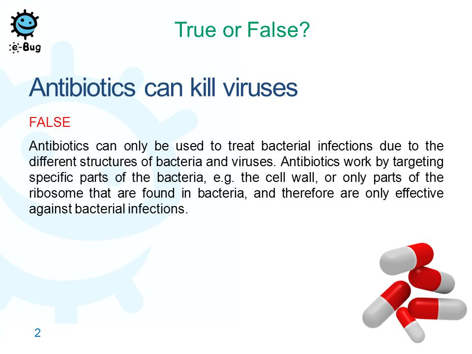 Antibiotics can kill viruses FALSE Antibiotics can only be used to treat bacterial infections due to the different structures of bacteria and viruses.