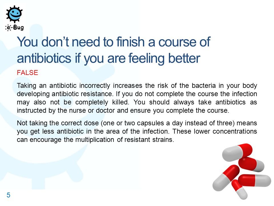 Of the 1,625 respondents, 79 % knew that you must always complete a course of antibiotics, even if you are feeling better.