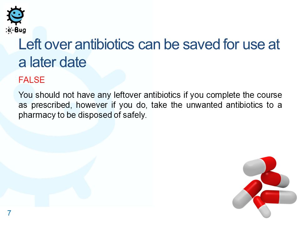 Antibiotic use in hospitals is causing most of the antibiotic resistance seen today FALSE Hospitals are not responsible for the high antibiotic use in humans.