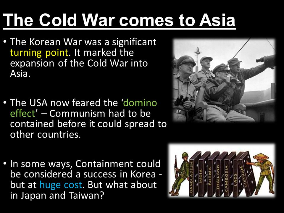 Containment in Japan Following Japan's surrender in 1945 the USA occupied the country, appointing General Douglas MacArthur as Supreme Commander of the Allied Powers (SCAP).
