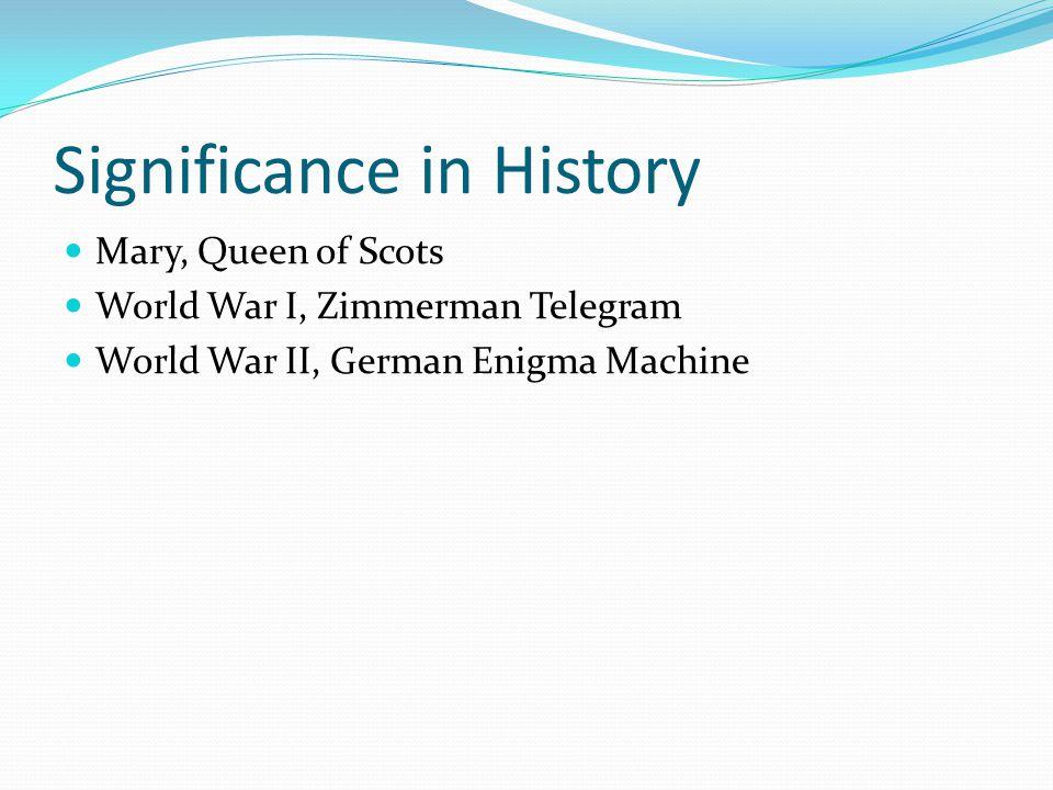 Significance in History Mary, Queen of Scots World War I, Zimmerman Telegram World War II, German Enigma Machine