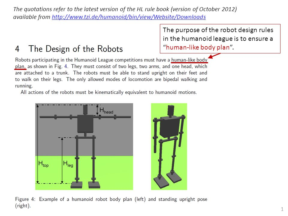 The purpose of the robot design rules in the humanoid league is to ensure a human-like body plan .