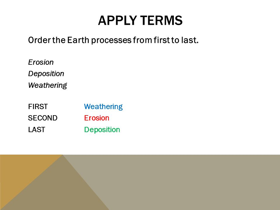 APPLY TERMS Order the Earth processes from first to last. Erosion Deposition Weathering FIRSTWeathering SECONDErosion LASTDeposition