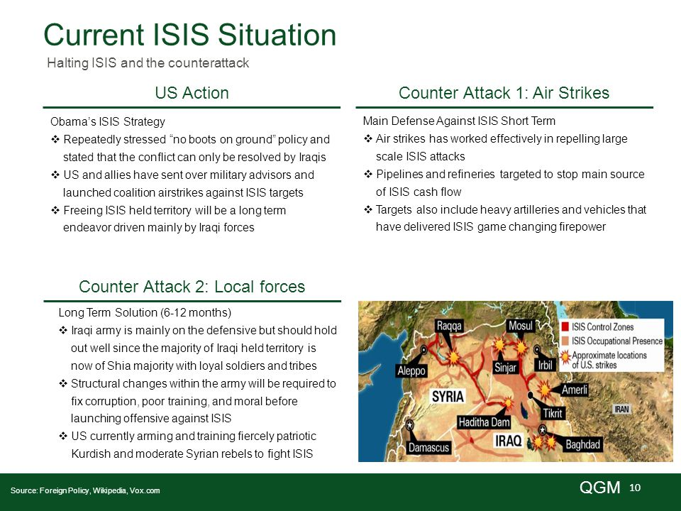 10 QGM Current ISIS Situation Halting ISIS and the counterattack US Action Source: Foreign Policy, Wikipedia, Vox.com Obama's ISIS Strategy  Repeatedly stressed no boots on ground policy and stated that the conflict can only be resolved by Iraqis  US and allies have sent over military advisors and launched coalition airstrikes against ISIS targets  Freeing ISIS held territory will be a long term endeavor driven mainly by Iraqi forces Counter Attack 1: Air Strikes Main Defense Against ISIS Short Term  Air strikes has worked effectively in repelling large scale ISIS attacks  Pipelines and refineries targeted to stop main source of ISIS cash flow  Targets also include heavy artilleries and vehicles that have delivered ISIS game changing firepower Counter Attack 2: Local forces Long Term Solution (6-12 months)  Iraqi army is mainly on the defensive but should hold out well since the majority of Iraqi held territory is now of Shia majority with loyal soldiers and tribes  Structural changes within the army will be required to fix corruption, poor training, and moral before launching offensive against ISIS  US currently arming and training fiercely patriotic Kurdish and moderate Syrian rebels to fight ISIS