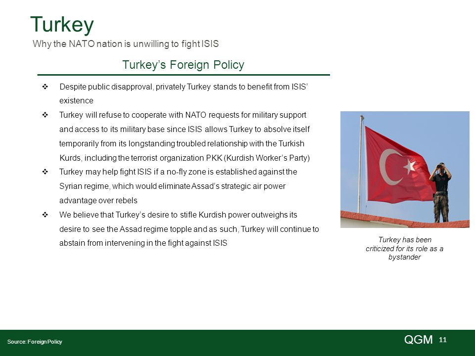 11 QGM Turkey  Despite public disapproval, privately Turkey stands to benefit from ISIS' existence  Turkey will refuse to cooperate with NATO requests for military support and access to its military base since ISIS allows Turkey to absolve itself temporarily from its longstanding troubled relationship with the Turkish Kurds, including the terrorist organization PKK (Kurdish Worker's Party)  Turkey may help fight ISIS if a no-fly zone is established against the Syrian regime, which would eliminate Assad's strategic air power advantage over rebels  We believe that Turkey's desire to stifle Kurdish power outweighs its desire to see the Assad regime topple and as such, Turkey will continue to abstain from intervening in the fight against ISIS Why the NATO nation is unwilling to fight ISIS Turkey has been criticized for its role as a bystander Source: Foreign Policy Turkey's Foreign Policy