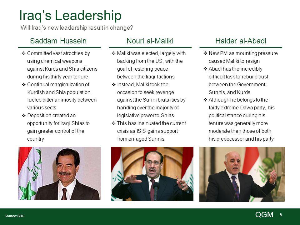 5 QGM Iraq's Leadership Will Iraq's new leadership result in change? Saddam HusseinNouri al-MalikiHaider al-Abadi Source: BBC  Committed vast atrocit
