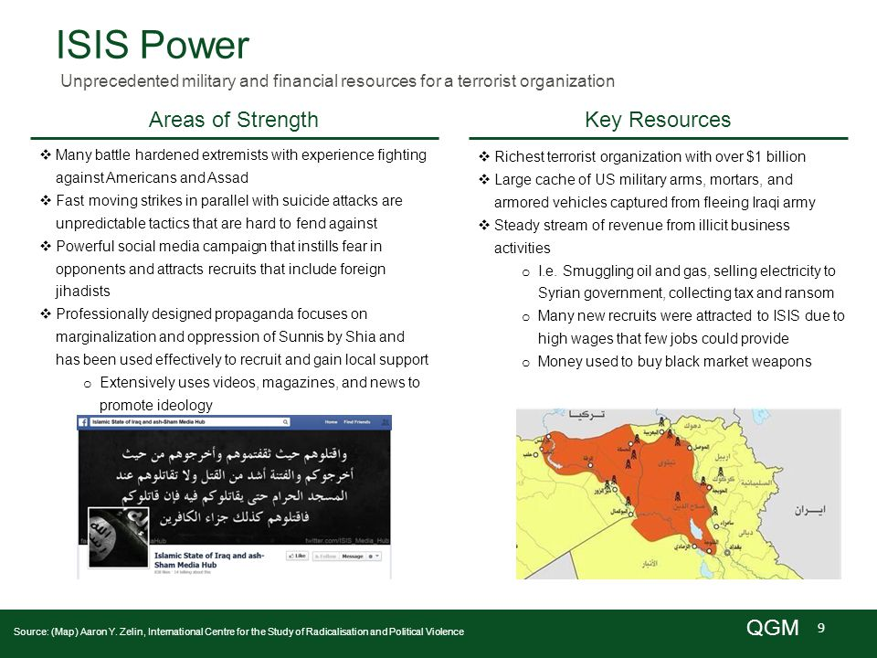 9 QGM ISIS Power Unprecedented military and financial resources for a terrorist organization Key Resources Source: (Map) Aaron Y.