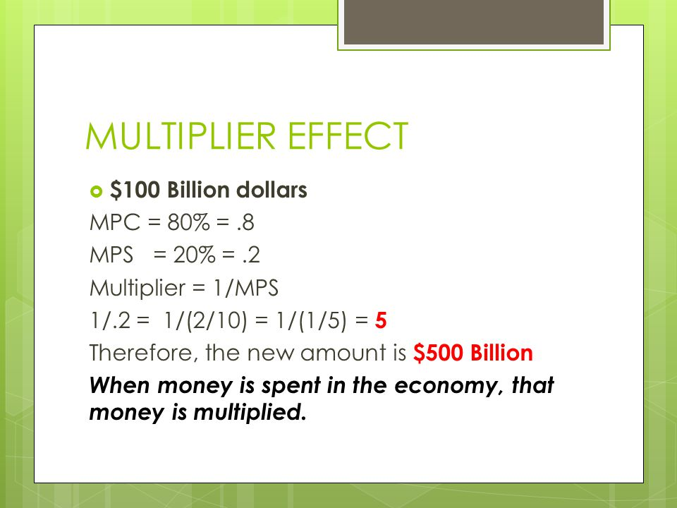 MULTIPLIER EFFECT  $100 Billion dollars MPC = 80% =.8 MPS = 20% =.2 Multiplier = 1/MPS 1/.2 = 1/(2/10) = 1/(1/5) = 5 Therefore, the new amount is $500 Billion When money is spent in the economy, that money is multiplied.