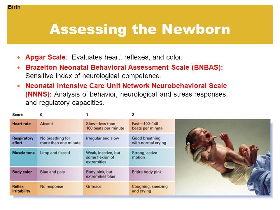 Assessing the Newborn Apgar Scale: Evaluates heart, reflexes, and color. Brazelton Neonatal Behavioral Assessment Scale (BNBAS): Sensitive index of ne