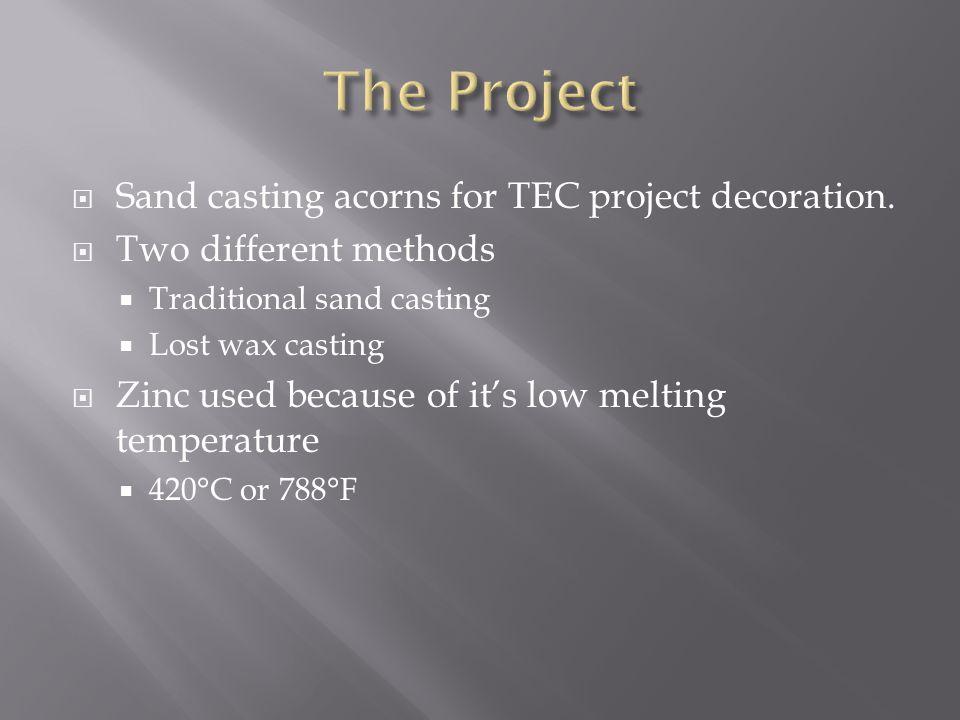  Sand casting acorns for TEC project decoration.