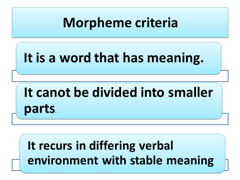 Morpheme criteria It is a word that has meaning. It canot be divided into smaller parts.