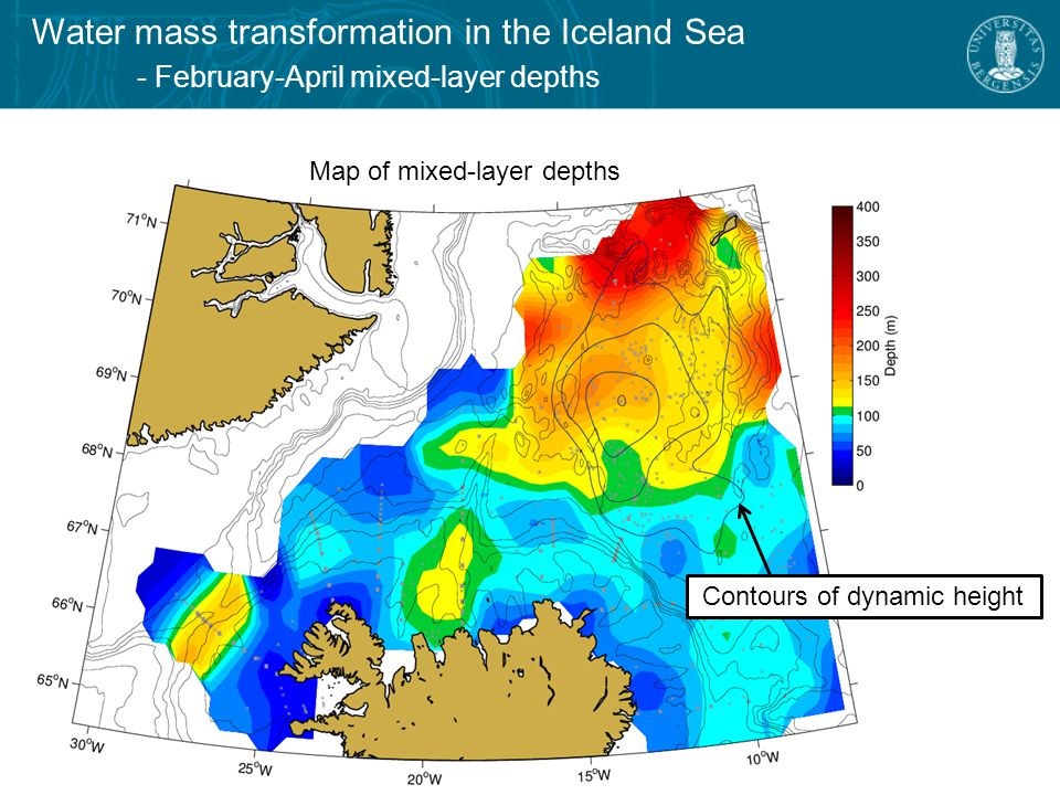 Water mass transformation in the Iceland Sea - February-April mixed-layer depths Map of mixed-layer depths Contours of dynamic height