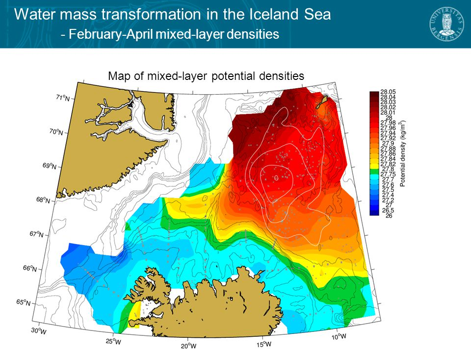 Water mass transformation in the Iceland Sea - February-April mixed-layer densities Map of mixed-layer potential densities