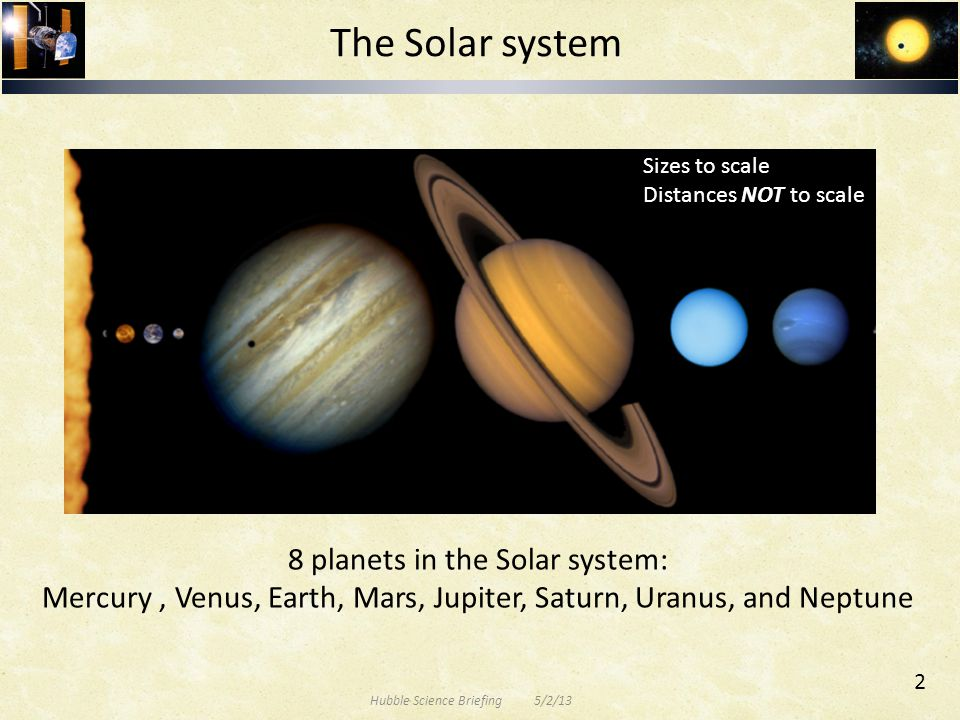 The Solar system 8 planets in the Solar system: Mercury, Venus, Earth, Mars, Jupiter, Saturn, Uranus, and Neptune Sizes to scale Distances NOT to scal