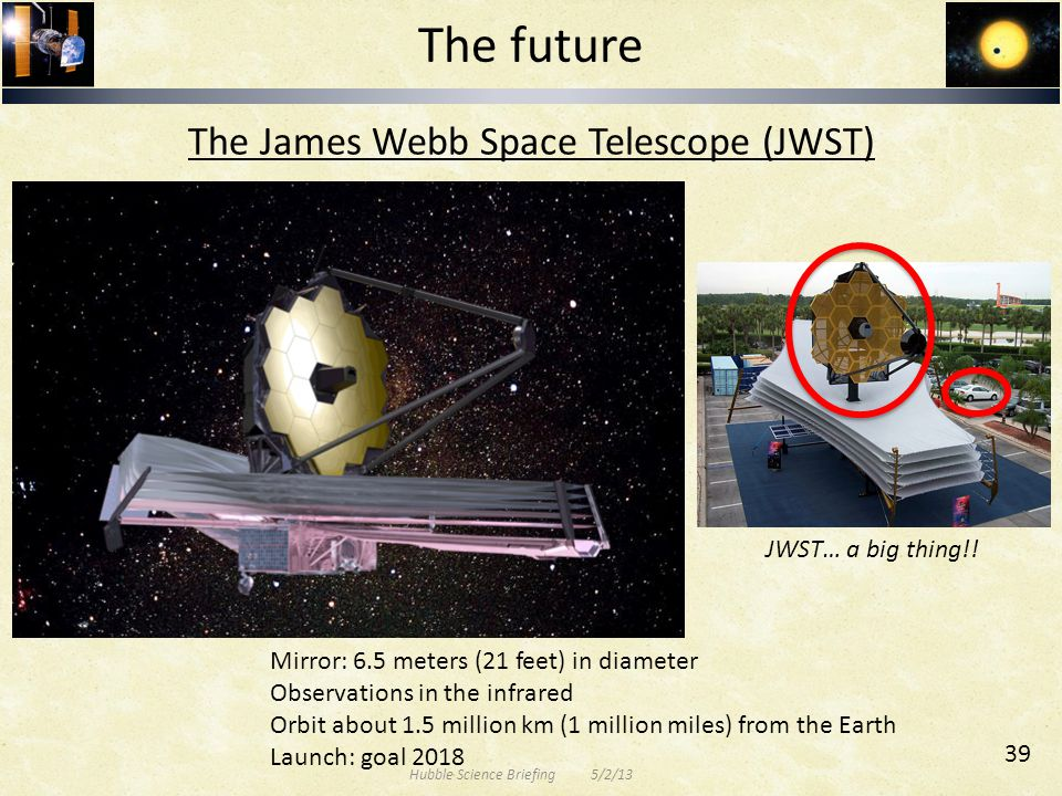 The James Webb Space Telescope (JWST) Mirror: 6.5 meters (21 feet) in diameter Observations in the infrared Orbit about 1.5 million km (1 million miles) from the Earth Launch: goal 2018 JWST… a big thing!.