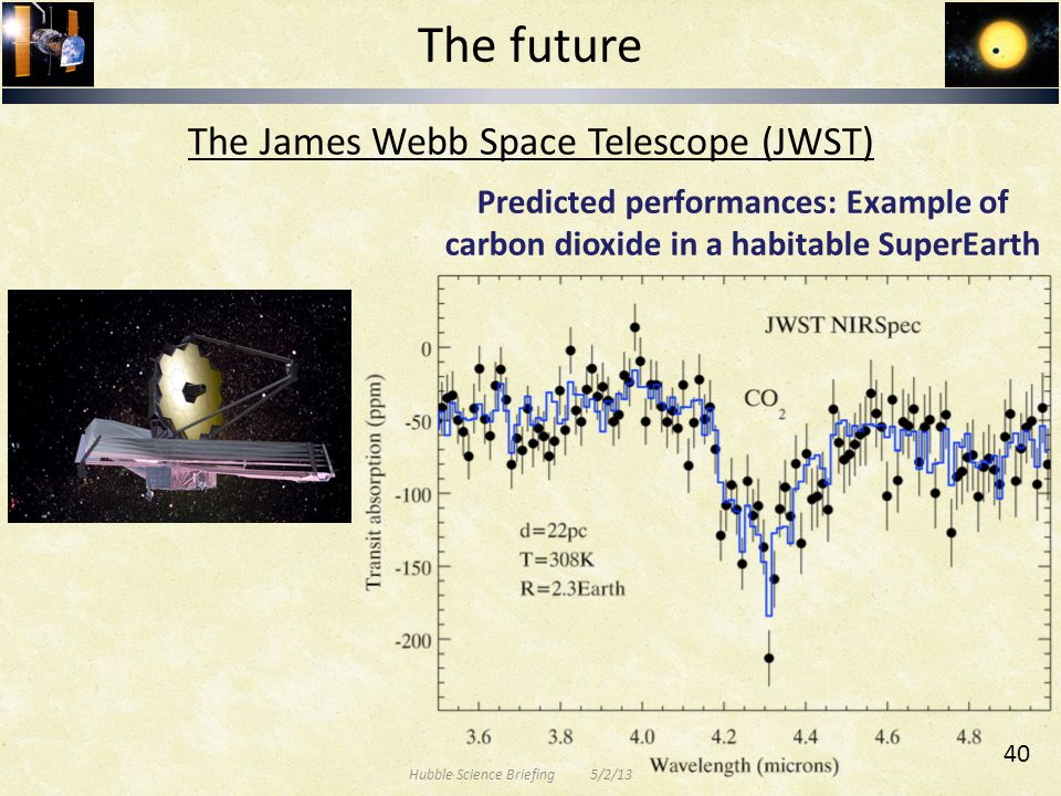 Predicted performances: Example of carbon dioxide in a habitable SuperEarth The future The James Webb Space Telescope (JWST) Hubble Science Briefing 5/2/13 40