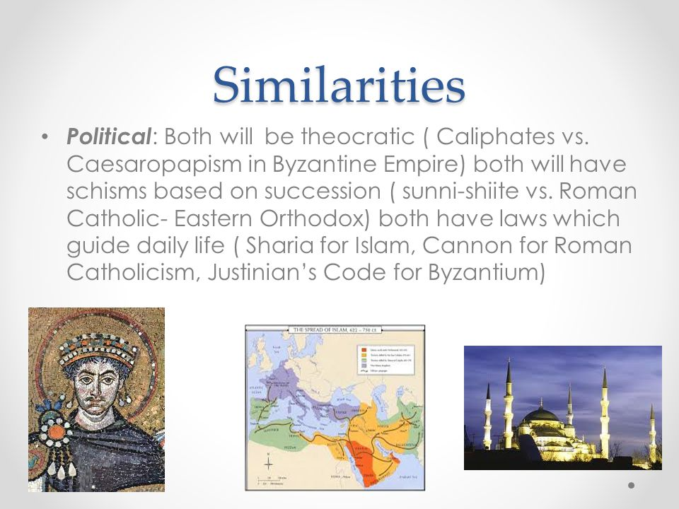 Differences Political: Feudal Europe after the fall of Rome was decentralized while the Abbasid Caliphate was centralized.