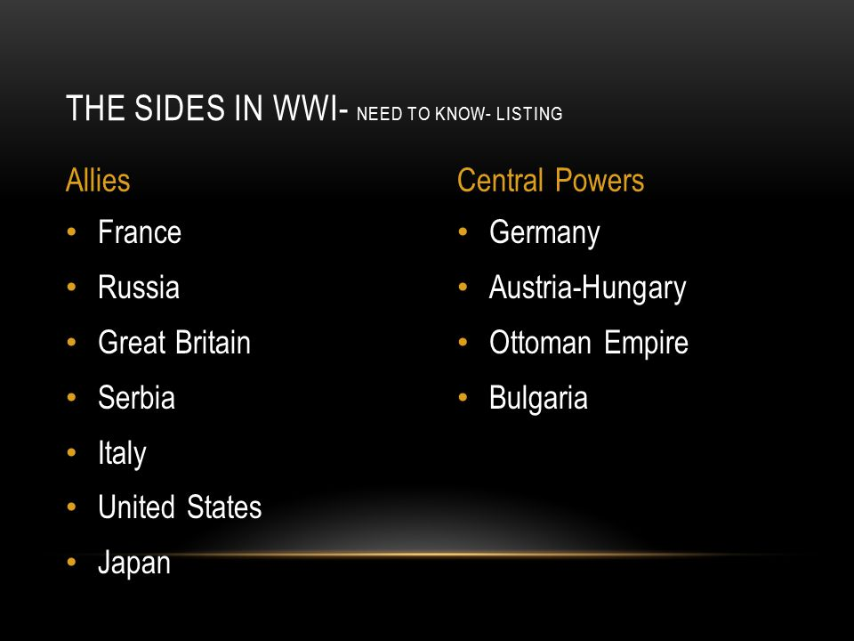 Germany Austria-Hungary Ottoman Empire Bulgaria France Russia Great Britain Serbia Italy United States Japan THE SIDES IN WWI- NEED TO KNOW- LISTING AlliesCentral Powers