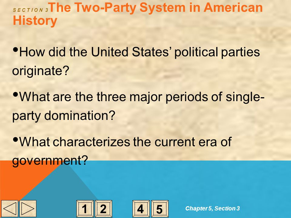 Chapter 5, Section 3 S E C T I O N 3 The Two-Party System in American History How did the United States' political parties originate? What are the thr