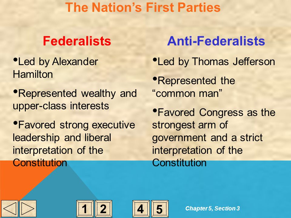The Nation's First Parties Federalists Led by Alexander Hamilton Represented wealthy and upper-class interests Favored strong executive leadership and