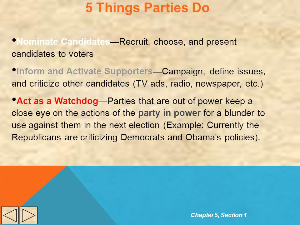 5 Things Parties Do Nominate Candidates—Recruit, choose, and present candidates to voters Inform and Activate Supporters—Campaign, define issues, and