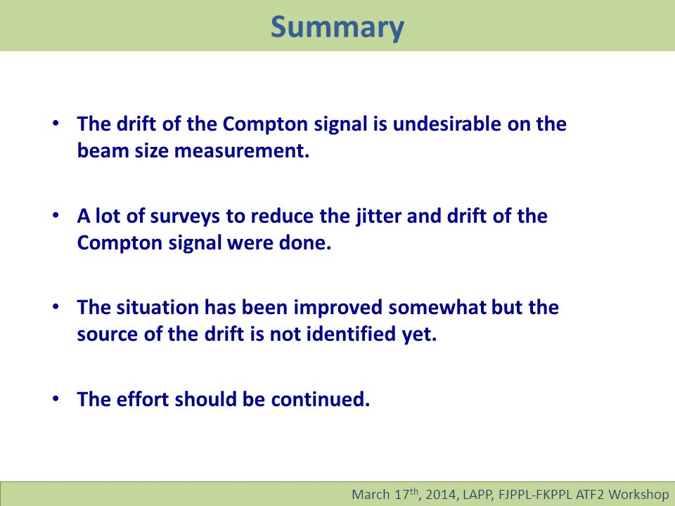 Summary March 17 th, 2014, LAPP, FJPPL-FKPPL ATF2 Workshop The drift of the Compton signal is undesirable on the beam size measurement.