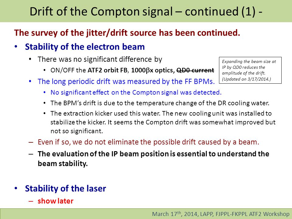 Drift of the Compton signal – continued (1) - March 17 th, 2014, LAPP, FJPPL-FKPPL ATF2 Workshop The survey of the jitter/drift source has been continued.