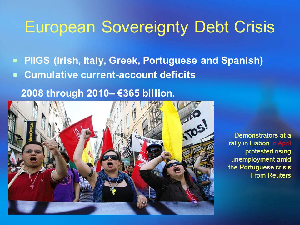 European Sovereignty Debt Crisis  PIIGS (Irish, Italy, Greek, Portuguese and Spanish)  Cumulative current-account deficits 2008 through 2010– €365 billion.